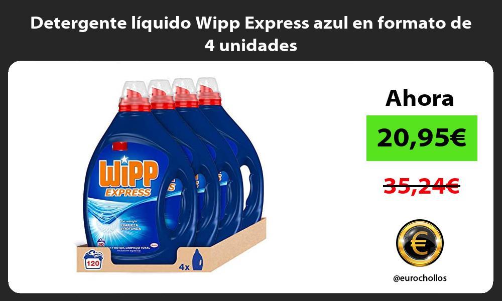 Detergente líquido Wipp Express azul en formato de 4 unidades