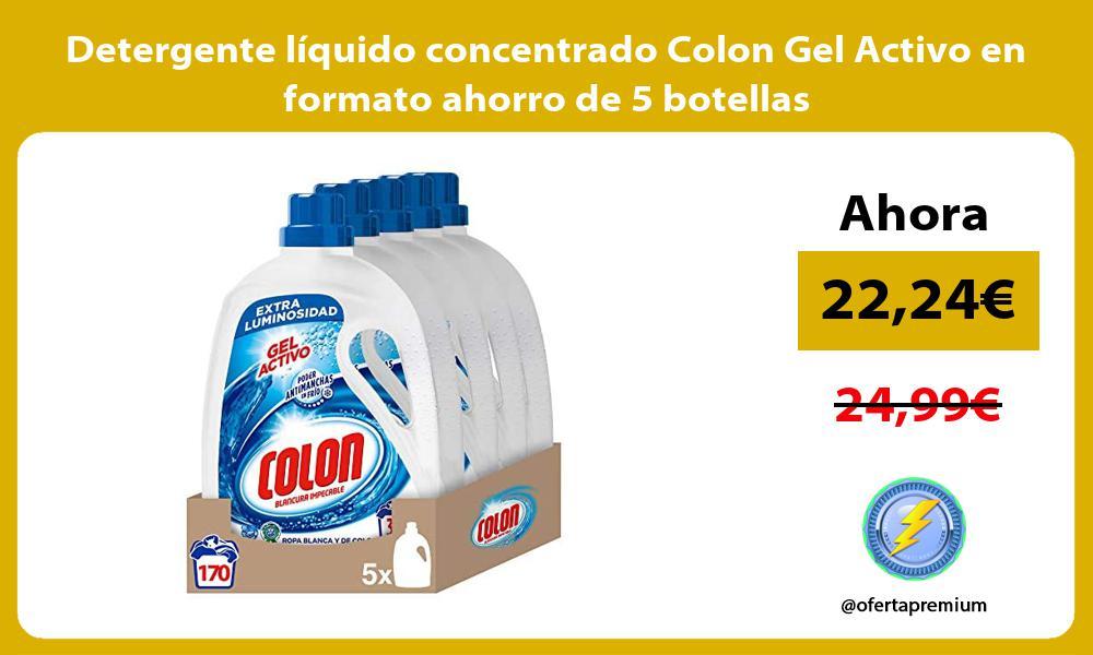 Detergente líquido concentrado Colon Gel Activo en formato ahorro de 5 botellas