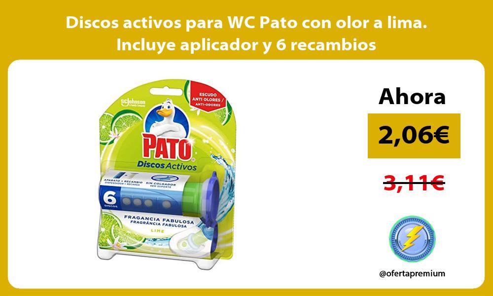 Discos activos para WC Pato con olor a lima Incluye aplicador y 6 recambios
