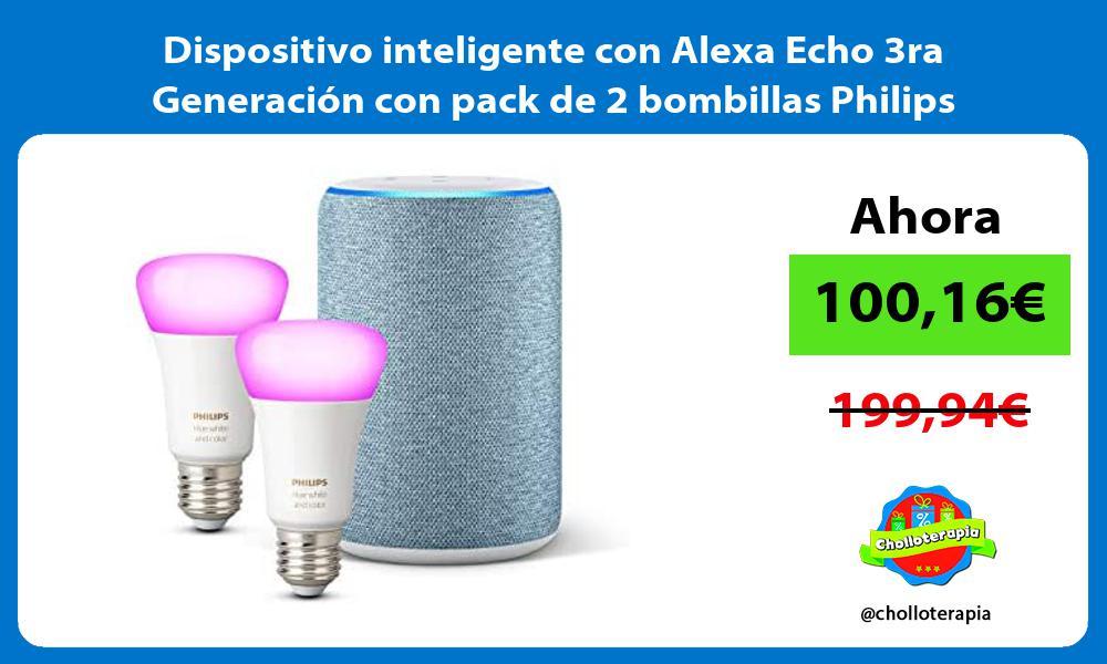 Dispositivo inteligente con Alexa Echo 3ra Generación con pack de 2 bombillas Philips