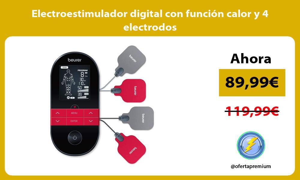 Electroestimulador digital con función calor y 4 electrodos