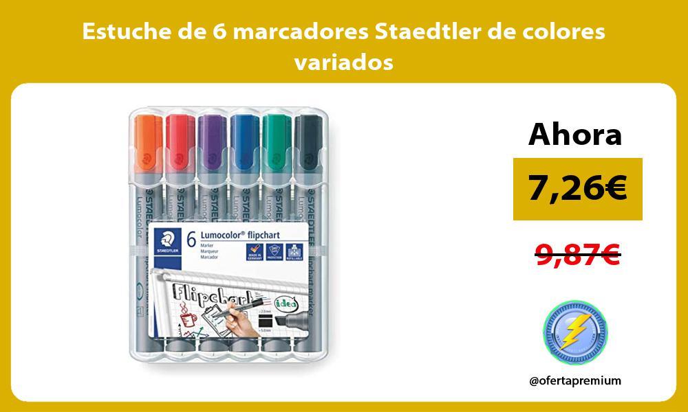 Estuche de 6 marcadores Staedtler de colores variados