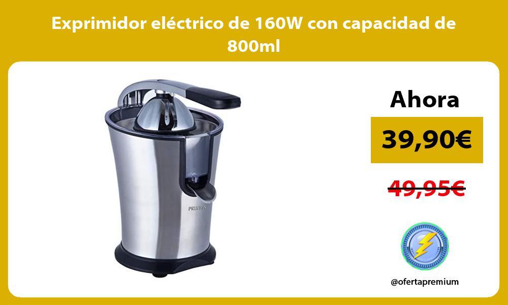 Exprimidor eléctrico de 160W con capacidad de 800ml