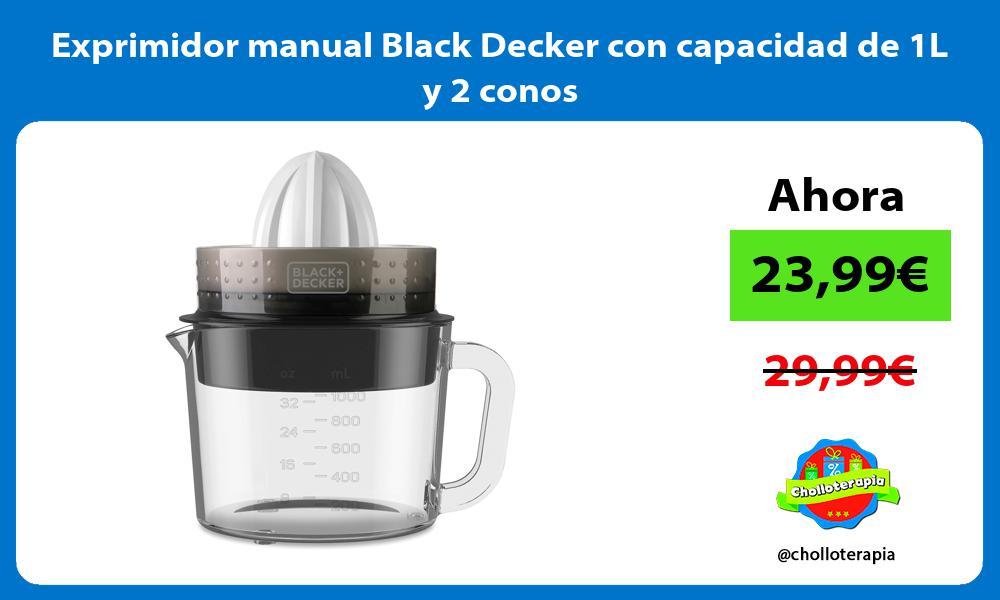 Exprimidor manual Black Decker con capacidad de 1L y 2 conos