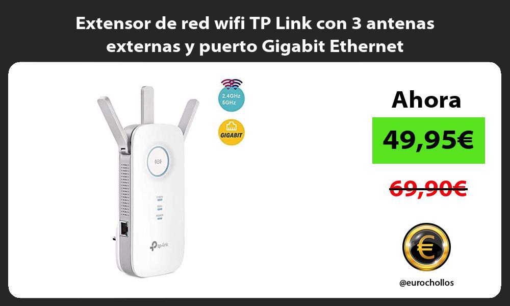 Extensor de red wifi TP Link con 3 antenas externas y puerto Gigabit Ethernet