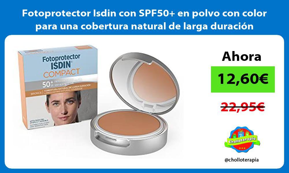 Fotoprotector Isdin con SPF50 en polvo con color para una cobertura natural de larga duración