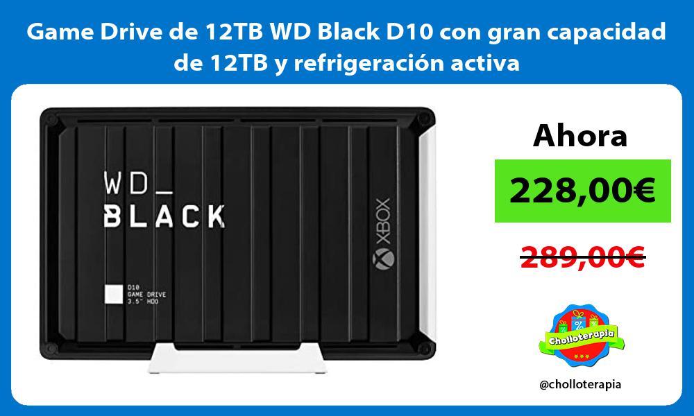 Game Drive de 12TB WD Black D10 con gran capacidad de 12TB y refrigeración activa