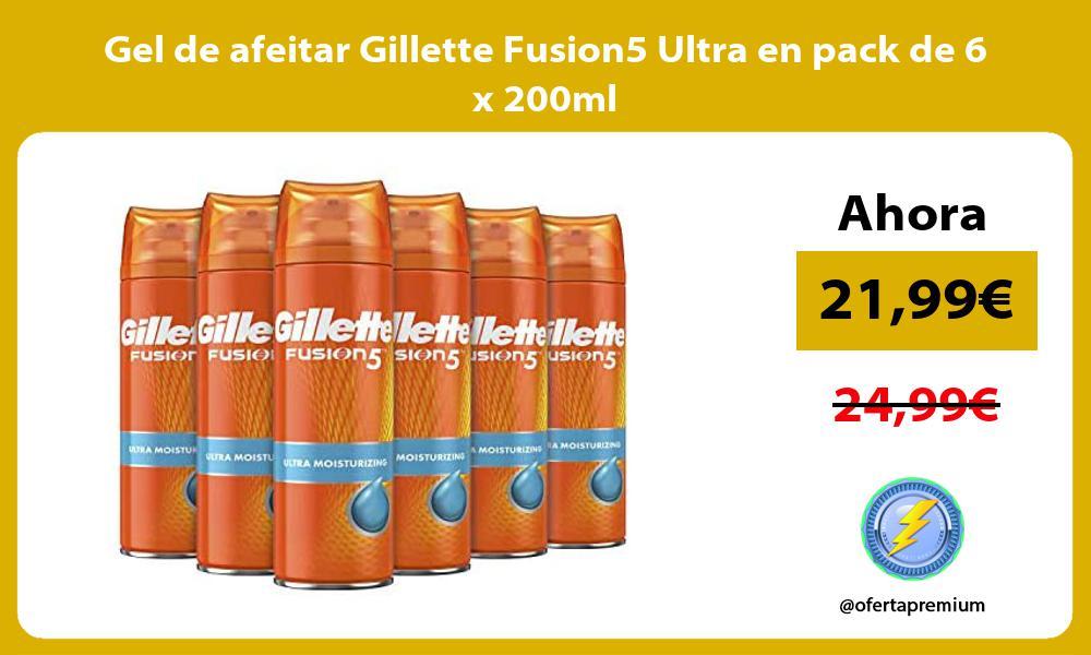 Gel de afeitar Gillette Fusion5 Ultra en pack de 6 x 200ml