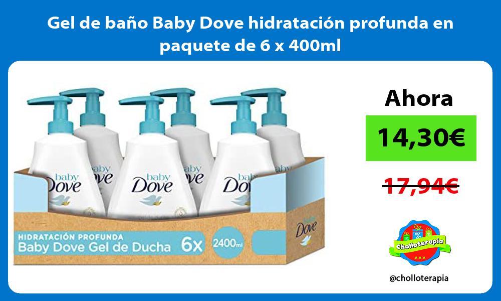 Gel de baño Baby Dove hidratación profunda en paquete de 6 x 400ml