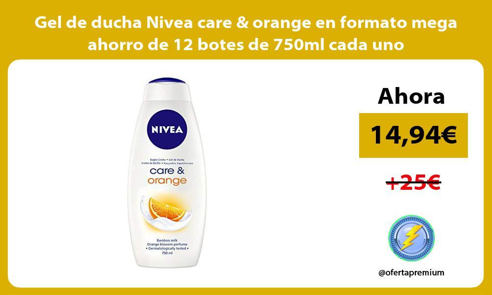 Gel de ducha Nivea care orange en formato mega ahorro de 12 botes de 750ml cada uno
