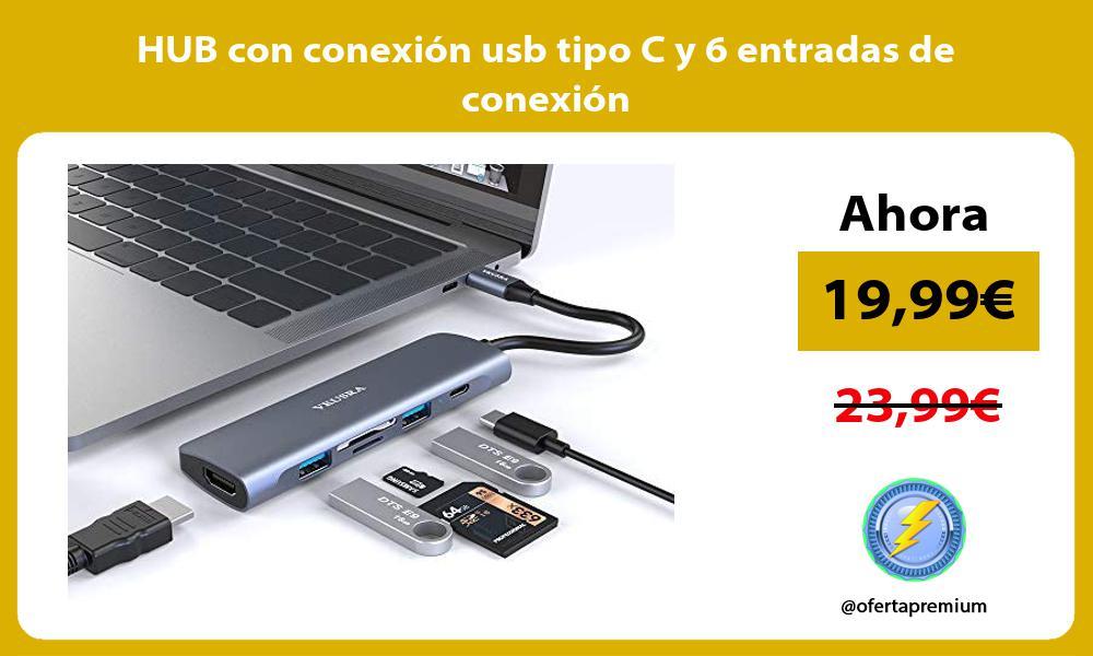 HUB con conexión usb tipo C y 6 entradas de conexión