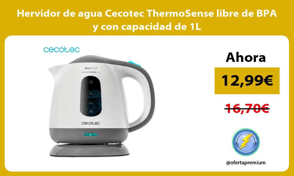 Hervidor de agua Cecotec ThermoSense libre de BPA y con capacidad de 1L