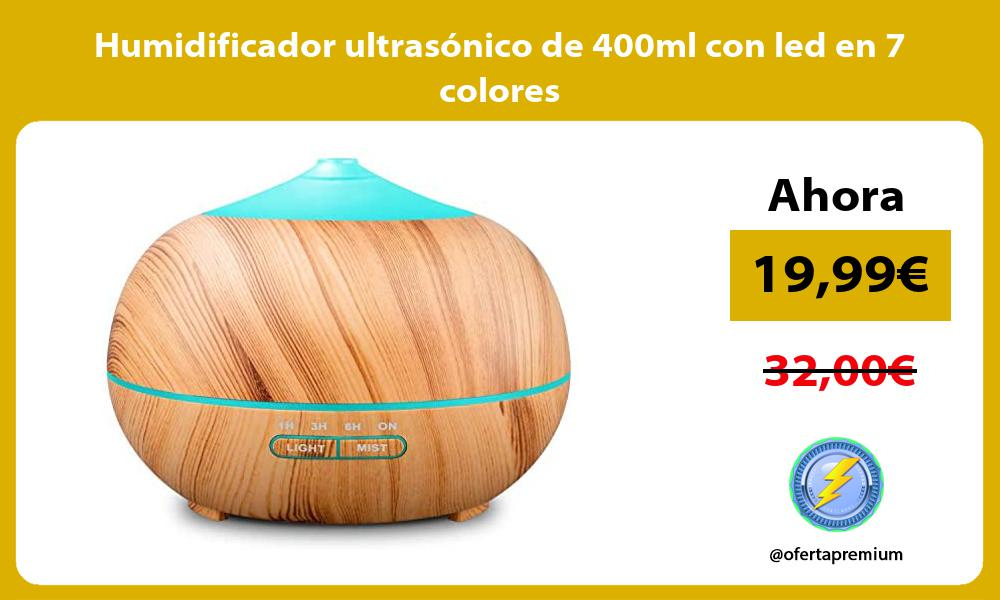 Humidificador ultrasónico de 400ml con led en 7 colores