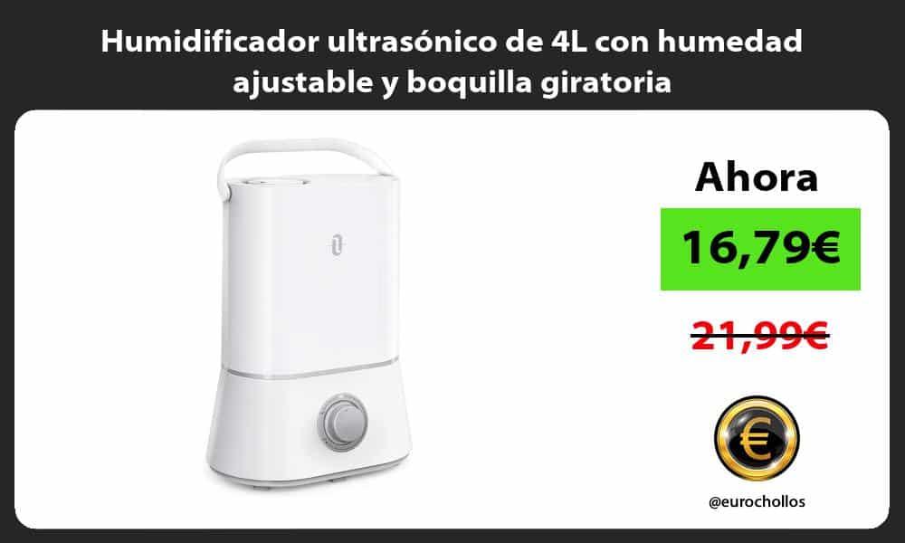 Humidificador ultrasónico de 4L con humedad ajustable y boquilla giratoria