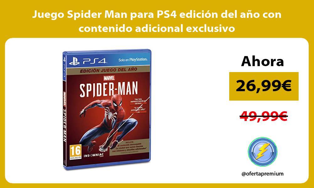 Juego Spider Man para PS4 edición del año con contenido adicional exclusivo