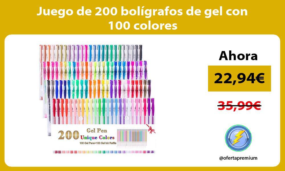 Juego de 200 bolígrafos de gel con 100 colores