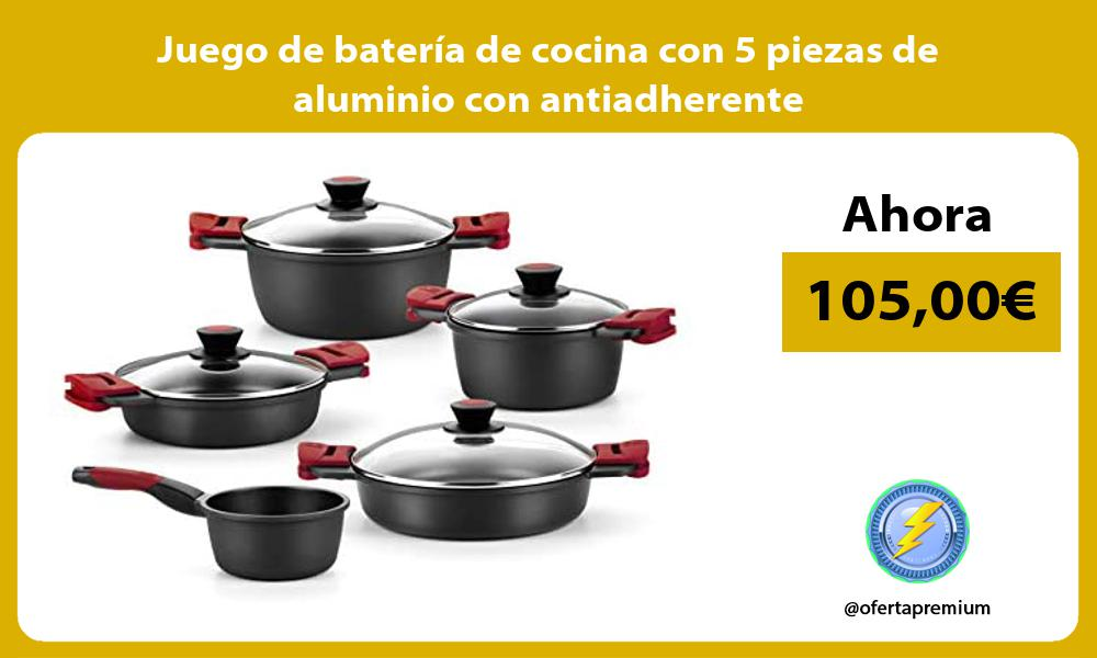 Juego de batería de cocina con 5 piezas de aluminio con antiadherente