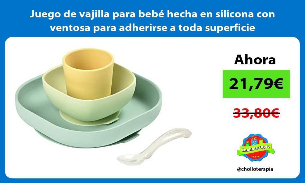Juego de vajilla para bebé hecha en silicona con ventosa para adherirse a toda superficie