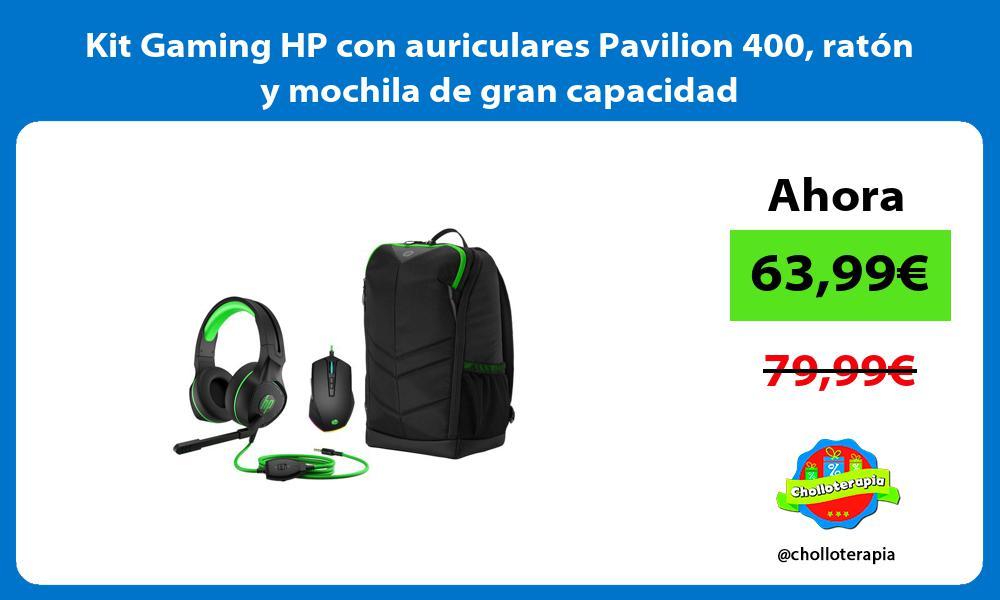 Kit Gaming HP con auriculares Pavilion 400 ratón y mochila de gran capacidad