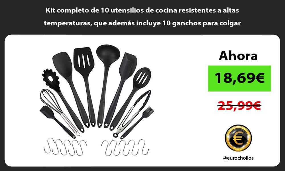 Kit completo de 10 utensilios de cocina resistentes a altas temperaturas que además incluye 10 ganchos para colgar
