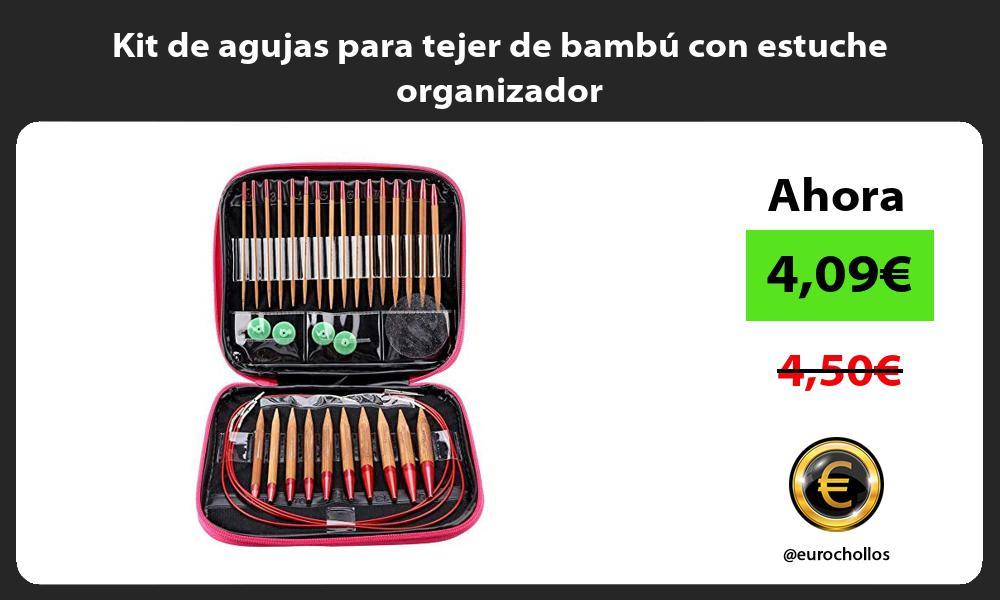 Kit de agujas para tejer de bambú con estuche organizador