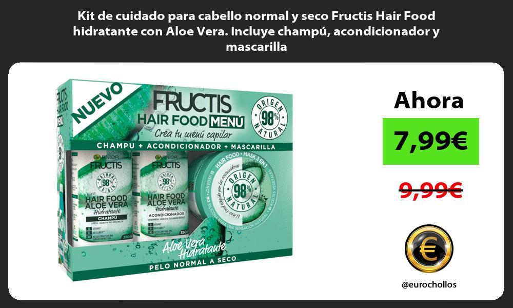 Kit de cuidado para cabello normal y seco Fructis Hair Food hidratante con Aloe Vera Incluye champú acondicionador y mascarilla