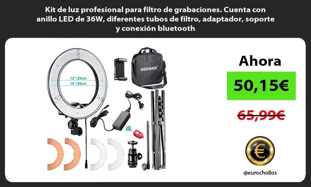 Kit de luz profesional para filtro de grabaciones Cuenta con anillo LED de 36W diferentes tubos de filtro adaptador soporte y conexión bluetooth