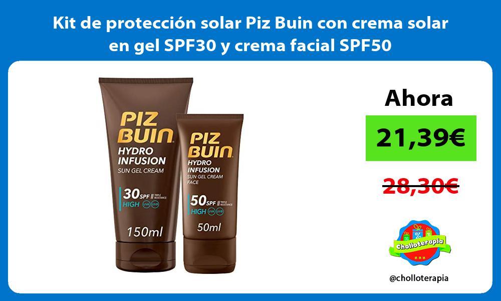Kit de protección solar Piz Buin con crema solar en gel SPF30 y crema facial SPF50