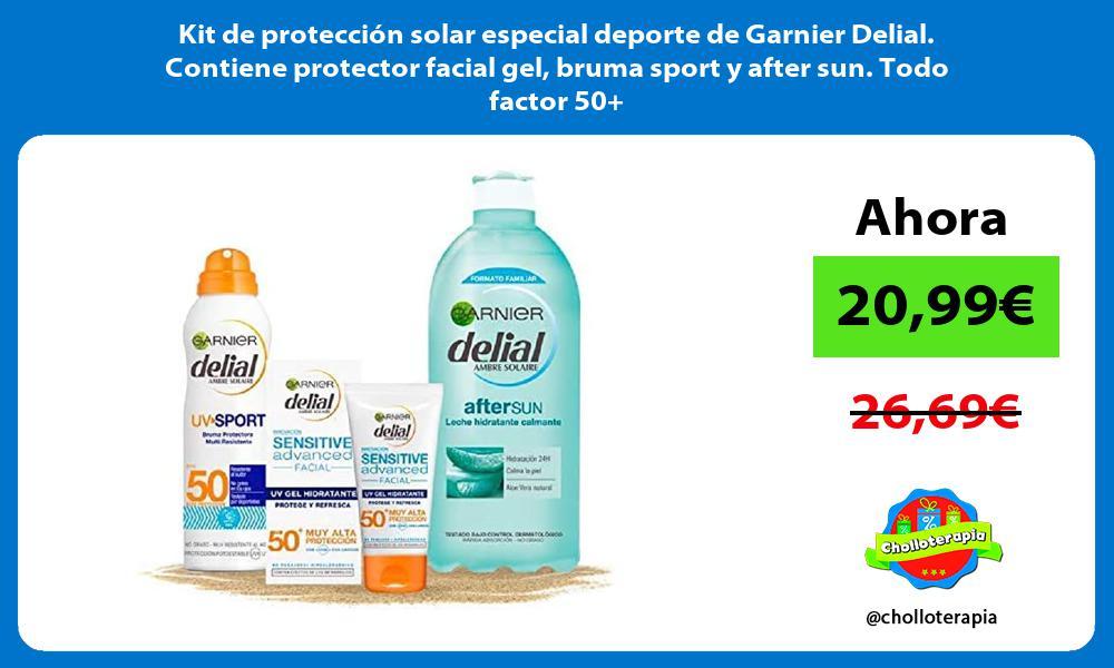 Kit de protección solar especial deporte de Garnier Delial Contiene protector facial gel bruma sport y after sun Todo factor 50