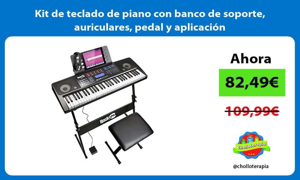 Kit de teclado de piano con banco de soporte auriculares pedal y aplicación