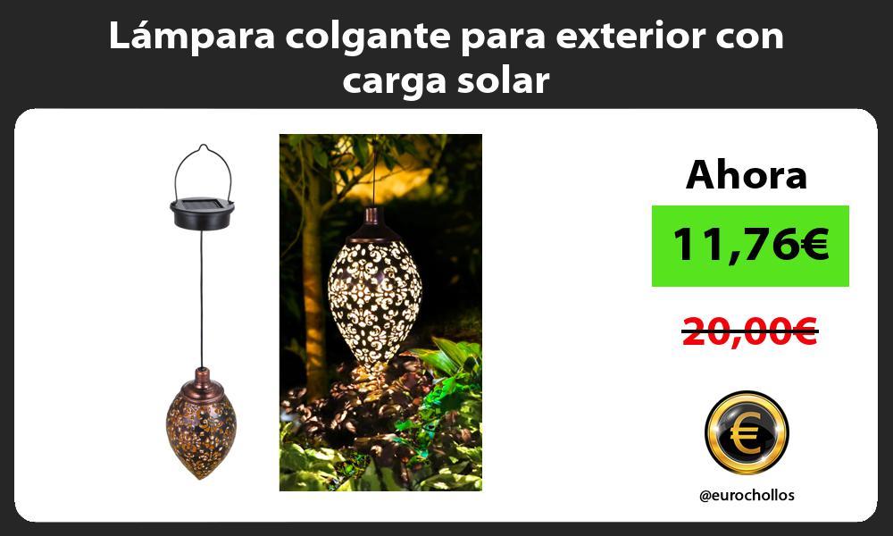 Lámpara colgante para exterior con carga solar