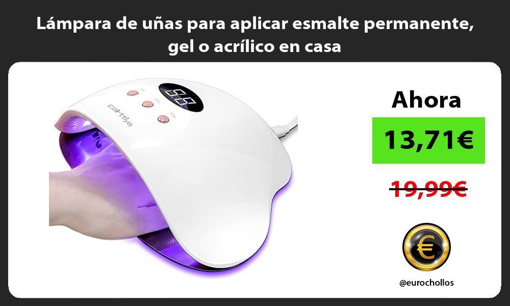 Lámpara de uñas para aplicar esmalte permanente gel o acrílico en casa