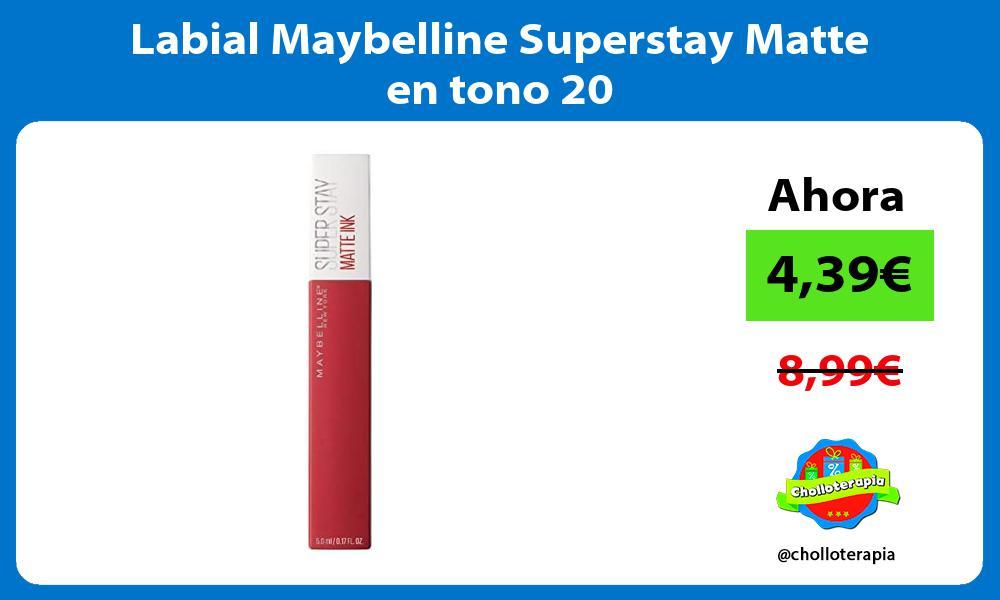 Labial Maybelline Superstay Matte en tono 20