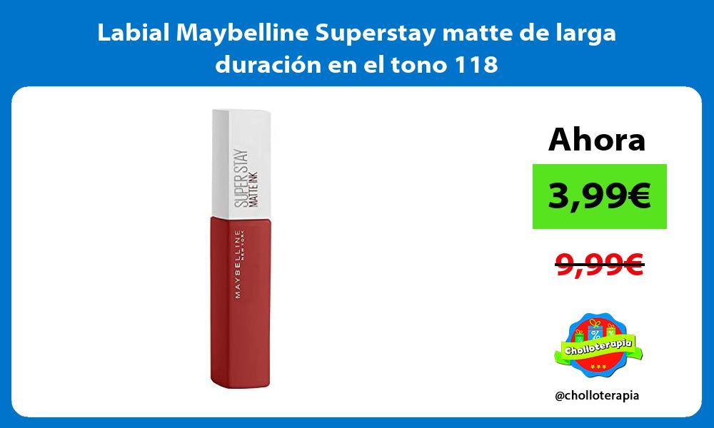 Labial Maybelline Superstay matte de larga duración en el tono 118