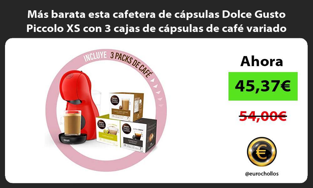 Más barata esta cafetera de cápsulas Dolce Gusto Piccolo XS con 3 cajas de cápsulas de café variado