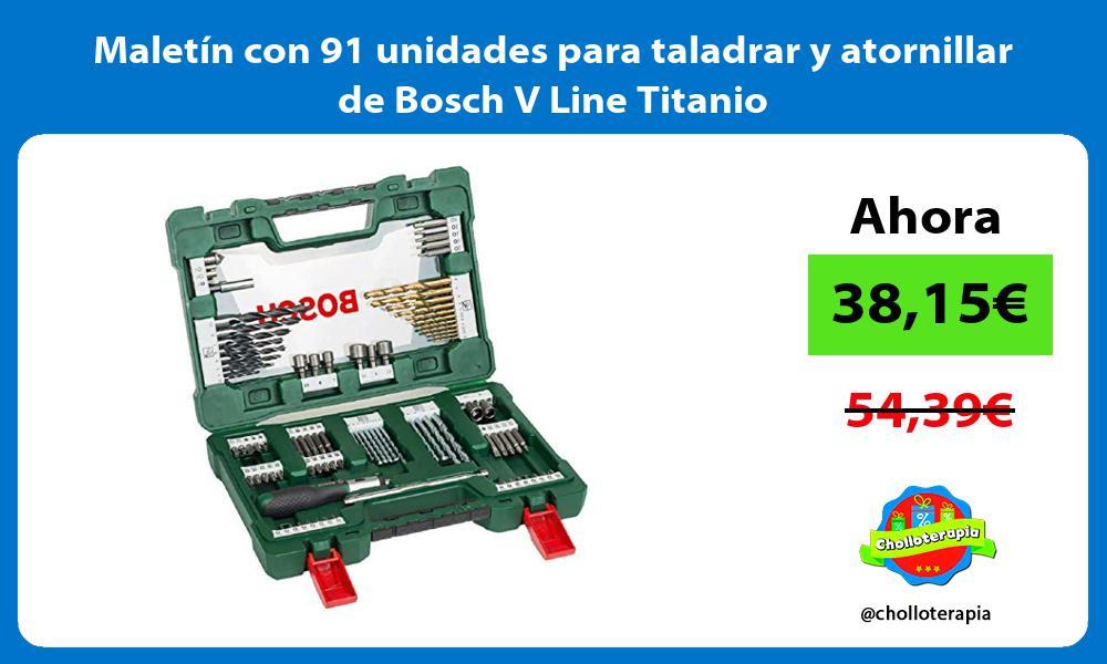 Maletín con 91 unidades para taladrar y atornillar de Bosch V Line Titanio