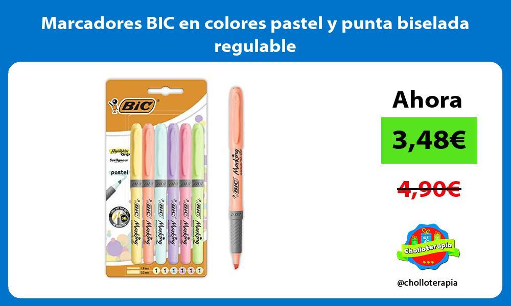 Marcadores BIC en colores pastel y punta biselada regulable