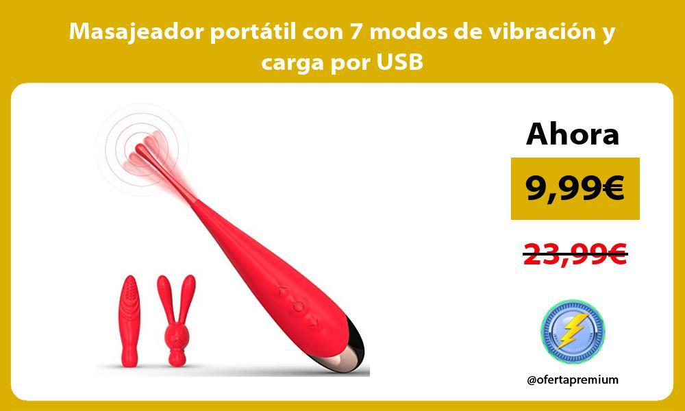 Masajeador portátil con 7 modos de vibración y carga por USB