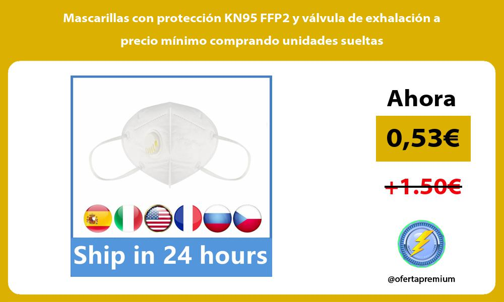 Mascarillas con protección KN95 FFP2 y válvula de exhalación a precio mínimo comprando unidades sueltas