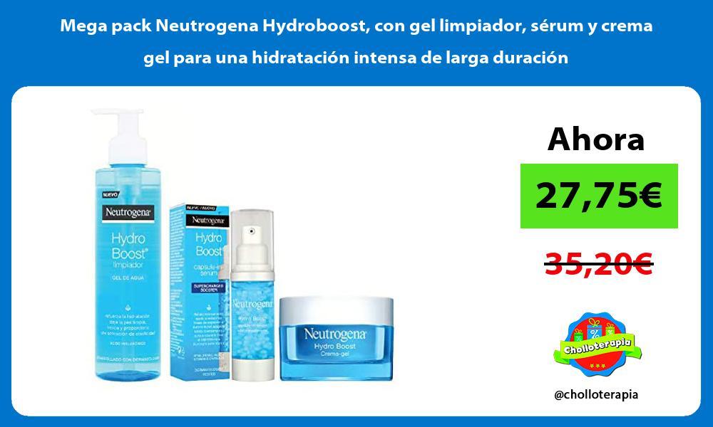 Mega pack Neutrogena Hydroboost con gel limpiador sérum y crema gel para una hidratación intensa de larga duración
