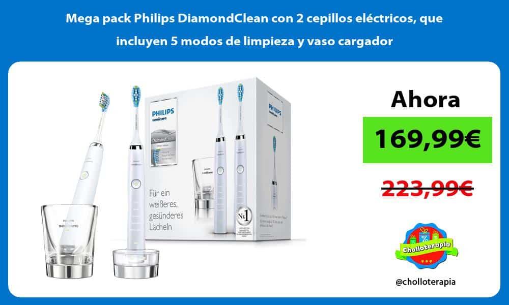 Mega pack Philips DiamondClean con 2 cepillos eléctricos que incluyen 5 modos de limpieza y vaso cargador