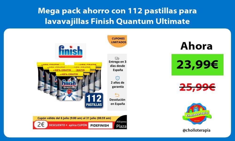 Mega pack ahorro con 112 pastillas para lavavajillas Finish Quantum Ultimate