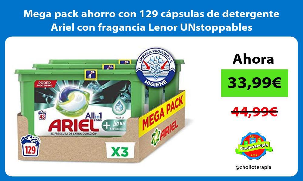 Mega pack ahorro con 129 cápsulas de detergente Ariel con fragancia Lenor UNstoppables