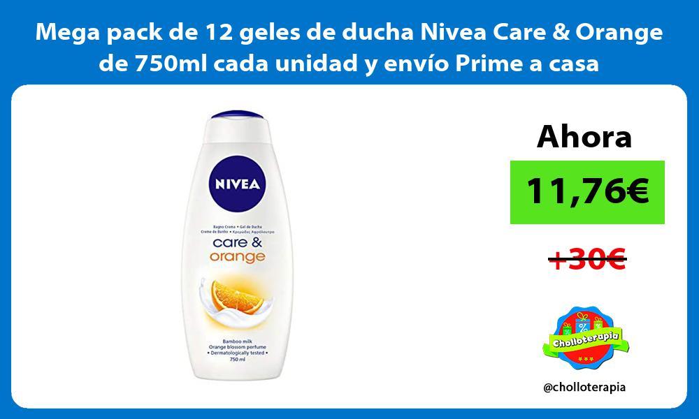 Mega pack de 12 geles de ducha Nivea Care Orange de 750ml cada unidad y envío Prime a casa