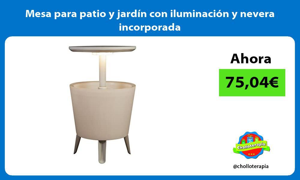 Mesa para patio y jardín con iluminación y nevera incorporada