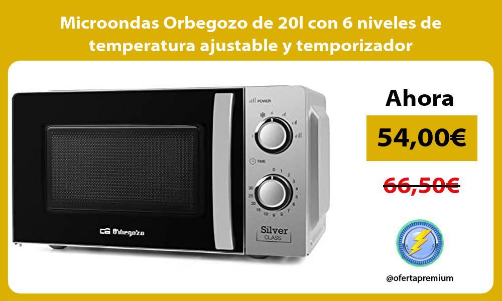 Microondas Orbegozo de 20l con 6 niveles de temperatura ajustable y temporizador