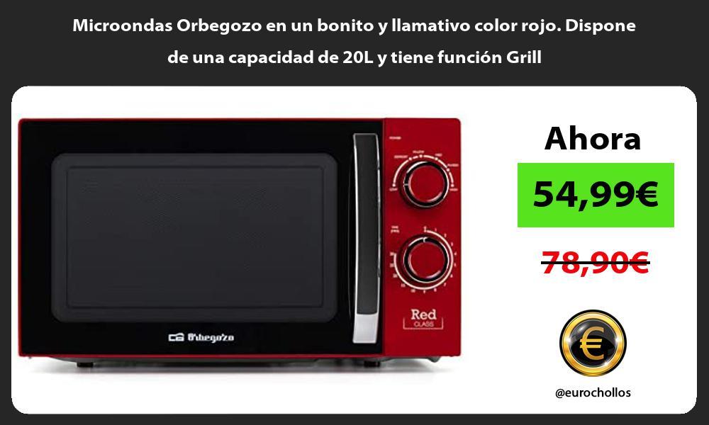 Microondas Orbegozo en un bonito y llamativo color rojo Dispone de una capacidad de 20L y tiene función Grill