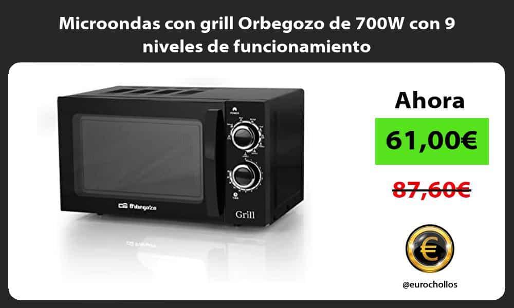 Microondas con grill Orbegozo de 700W con 9 niveles de funcionamiento