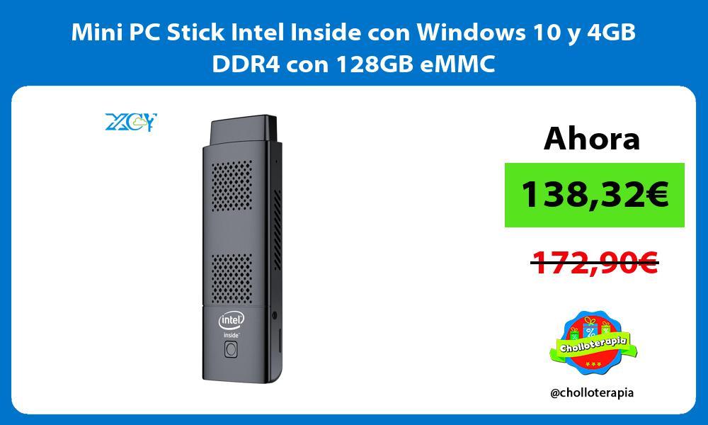 Mini PC Stick Intel Inside con Windows 10 y 4GB DDR4 con 128GB eMMC