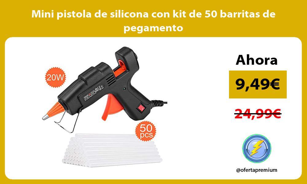 Mini pistola de silicona con kit de 50 barritas de pegamento